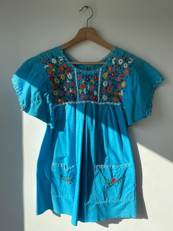 Vintage Aqua Embroidered Top
