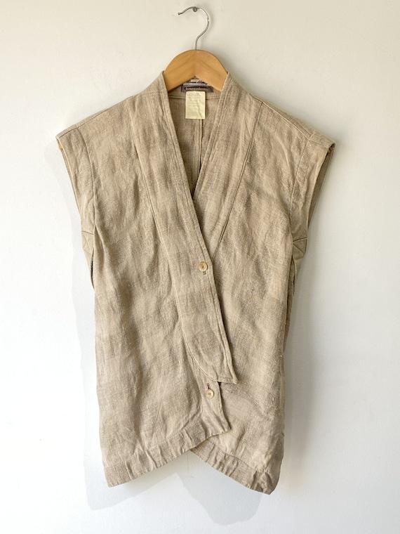 Vintage Issey Miyake Oatmeal Linen Vest