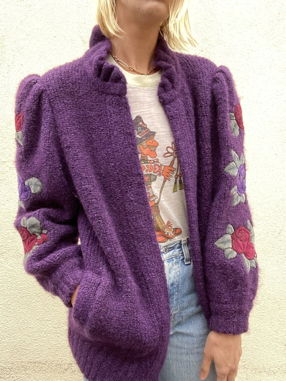 Vintage Purple Puff Sleeve Cardigan - image 1