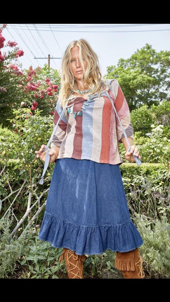 Vintage N'est-ce Pas? Denim Skirt with Ruffle - image 7
