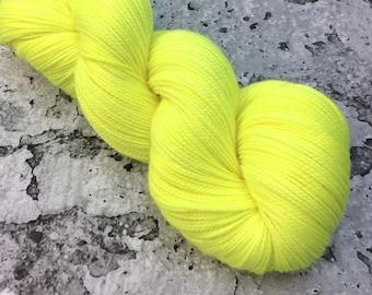 ELECTRIC LEMON - 80/20 Merino Sock Hand-dyed Yarn
