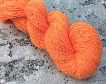 ELECTRIC TANGERINE - 80/20 Merino Sock Hand-dyed Yarn