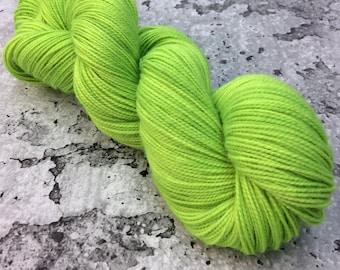 ELECTRIC UV LIME - 80/20 Merino Sock Hand-dyed Yarn