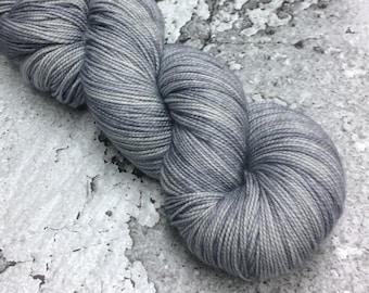 Hand-dyed 80/20 Merino SOCK Yarn - SILVER - 400yds / 100g
