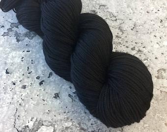 Hand-dyed Merino Sport Yarn - INK BLACK - 328 yds/100g