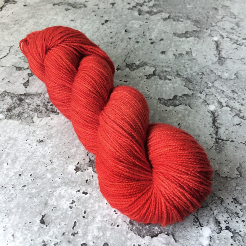 HOLIDAY RED  80/20 Merino Sock Hand-dyed Yarn image 0