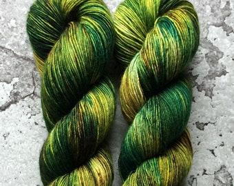 Hand Dyed Merino Single Ply Fingering Yarn - EVERGLADE