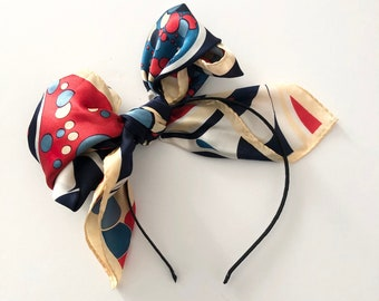 Scarf Bow Headband in Colorful Carnival