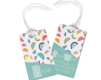 Luggage Tags Personalized - Monogrammed Bag Tag- Watermelon Rainbow