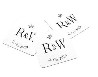 Personalized Wedding Coaster - Paper Coaster - Monogram Coasters - Monogram with Date - Wedding Date