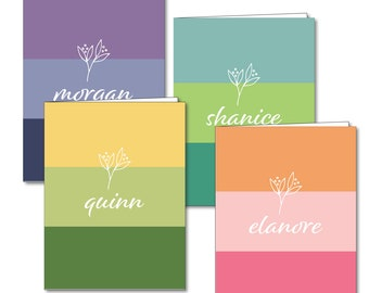 Personalized Two Pocket Folder- Rainbow Bands
