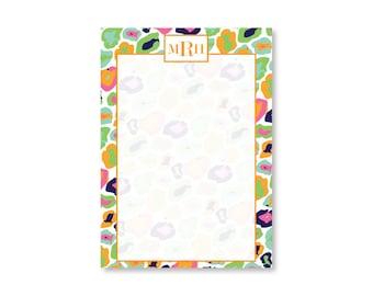 Leopard Print Note Pad - Monogram Pad