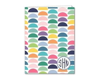 Personalized Two Pocket Folder- Monogrammed Folder - Rainbow Gumdrops