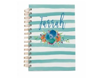 Hard Cover Notebook - Hardcover Journal - Bullet Journal - Personalized Journal - Watercolor Flowers