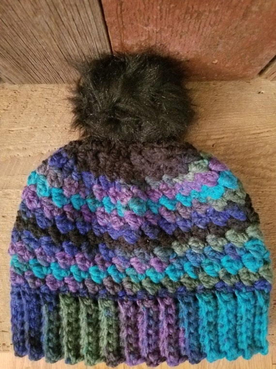 Dark Rainbow winter hat with removable pompom  a4286660cd0