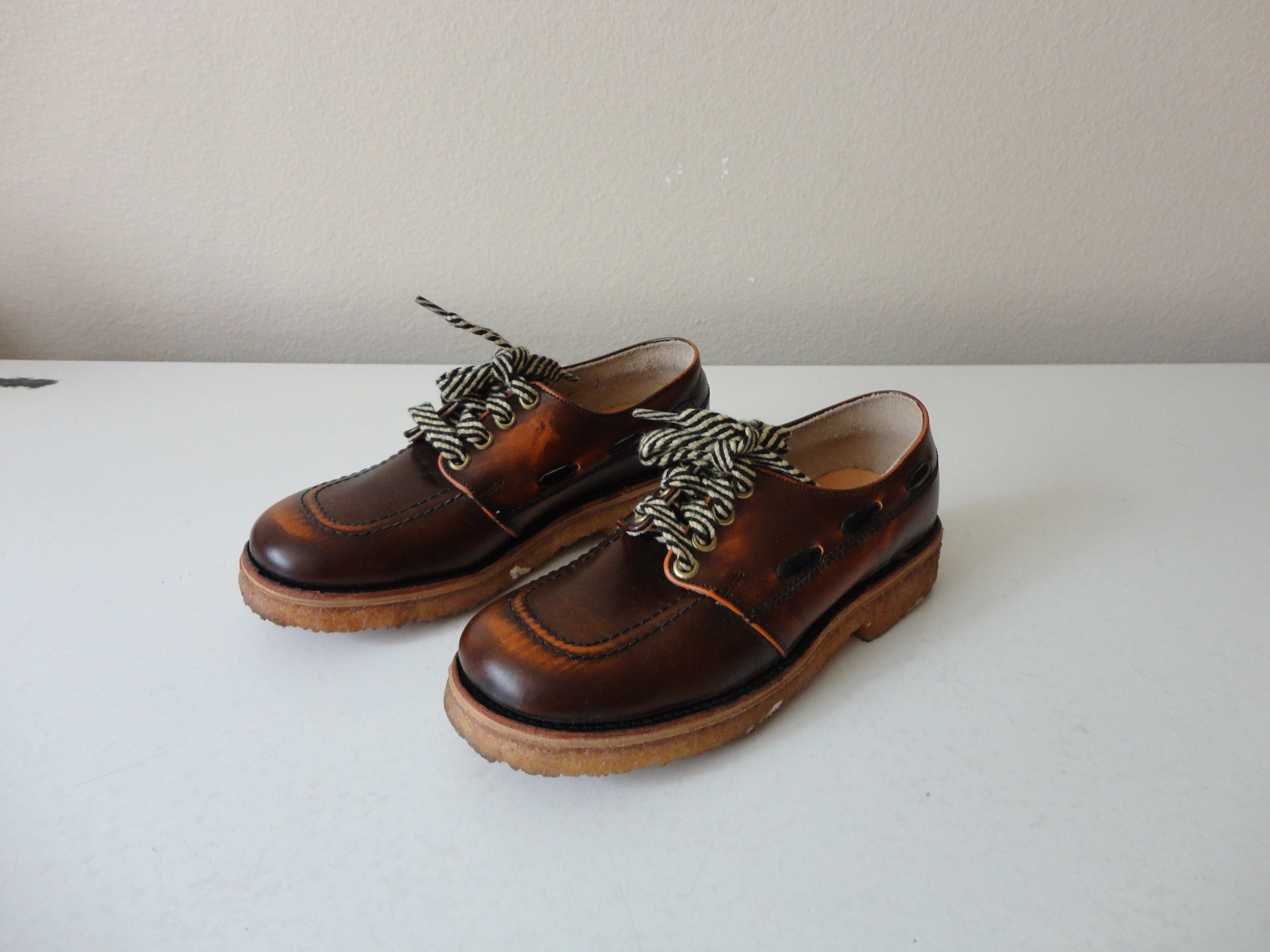 Vintage 1950s brown leather shoes genuine oxford sneakers formal lace tie unisex kids/' boys childrens toddler youth 11.5