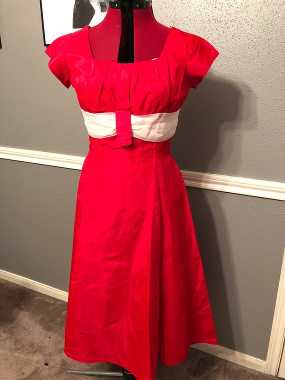Vintage Vibrant Red Party Gown