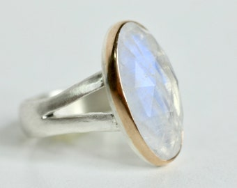 Moonstone Ring in Recycled 14k Gold and Sterling Silver - rose cut free form stone