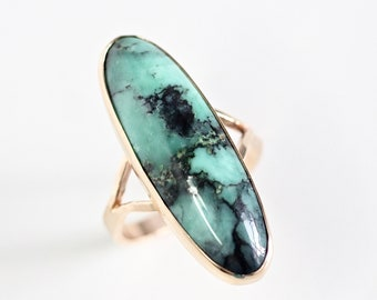Spider Web Variscite Split Shank Ring - 14k yellow gold - one of a kind statement ring - eco friendly recycled gold