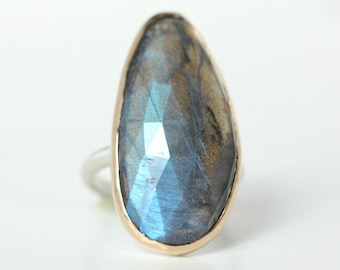 Labradorite Ring in Recycled 14k Gold and Sterling Silver - rose cut free form stone