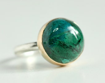 Malachite Ring in Recycled 14k Yellow Gold and Sterling Silver
