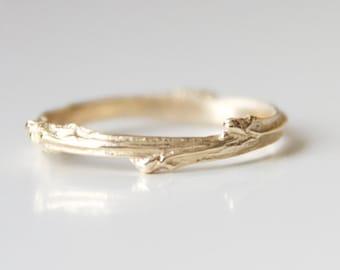 Yellow Gold Twig Ring - Rose Gold Twig Branch Ring - Twig Ring 14k Yellow Recycled Gold - Branch Band - Bohemian Ring - Boho Wedding Band