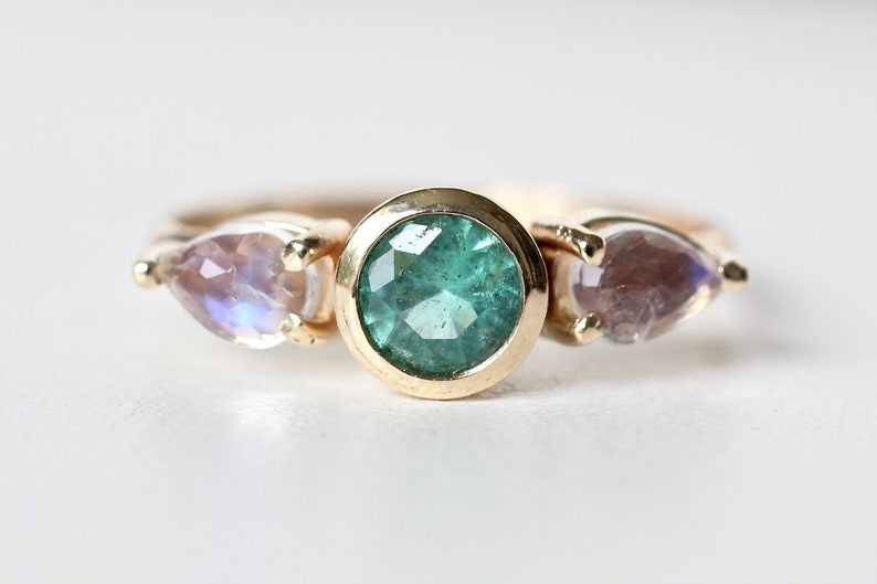 Colombian Emerald and Rose Cut Moonstone Ring in 14k Yellow image 0