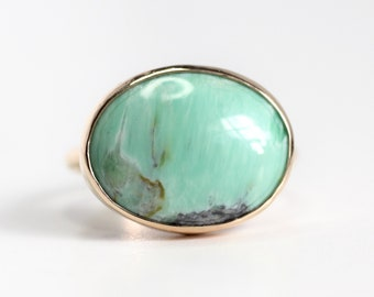 Oval Variscite Ring in Recycled 14k Gold - One of a Kind Eco-friendly Recycled 14k Yellow Gold Ring
