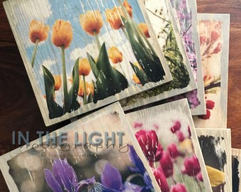 Spring Flowers Wood Photo Transfer Coasters - Customize, Home Decor, Fine Art Photography, Drinkware, Decorative, Vintage, Distressed