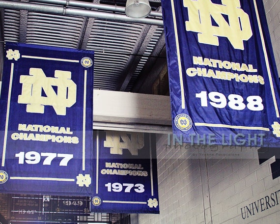 Notre Dame Football Banners In The Tunnel Fine Art Etsy