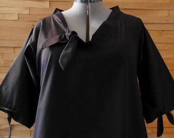 SALE Black Long Sleeve A Line V Neck Mod Dress with Pockets|Plus Size Dress|Maternity Dress|Oversized Dress|Loose Dress|Party Dress|XL Dress