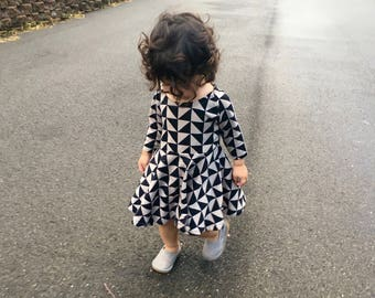 Girls Baby Toddler Long Sleeve Twirl Dress|First Birthday Dress|Baby Winter Dress|Girl Printed Dress|Baby Scoop Neck Dress|Cotton Baby Dress