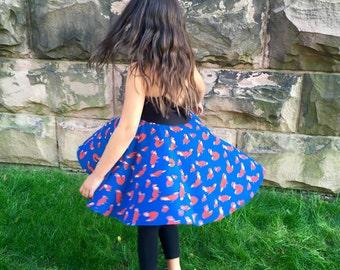 Fox Print Girls Twirl Dress|Girls Birthday Dress|Empire Waist Dress|Matching Dresses|Baby Dress|Girls Dress|Toddler Dress|Summer Dress Girls