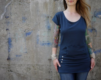 Custom Cap Sleeve Tunic with Pocket | All Sizes | Many Colors| Clementiny Clothing