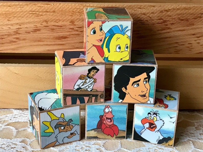 The Little Mermaid Children/'s Storybook Wooden Blocks Repurposed Upcycled Classic Book Block Set of 6