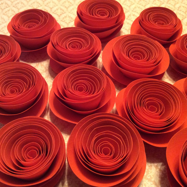 Orange Rolled Paper Flowers Modern Wedding Decor Spiral Etsy