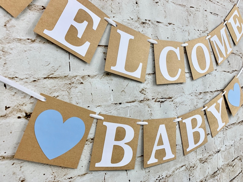 Rustic Baby Shower Banner Gender Reveal Baby Boy Shower Banner or Baby Girl Shower Banner Blue or Pink Welcome Baby Banner
