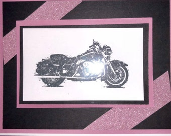 Stampin up motorcycle birthday card pink and black
