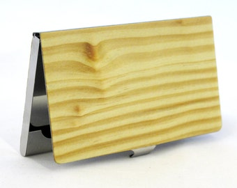 Knotty Pine Wood Business Card Case
