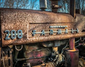 Farmall Tractor, McCormick, Rusted Tractor Print, Vintage Farm Equipment Print, Farmhouse Wall Decor, Farm House Art Print,Antique Machinery