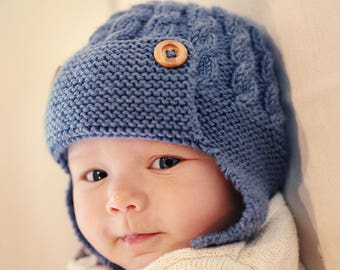 c5c663798fa Aviator Hat Knitting Pattern for Baby and Child - DAYTON
