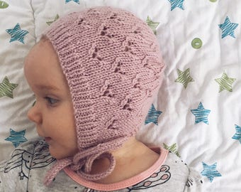 Baby Bonnet Knitting Pattern - LITTLE HEARTS ad6b163f779