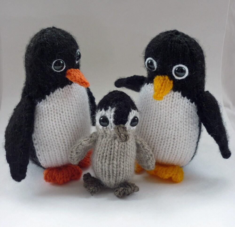 Penguin Knitting Pattern, Knitted Penguin Pattern, Penguin Toy ...