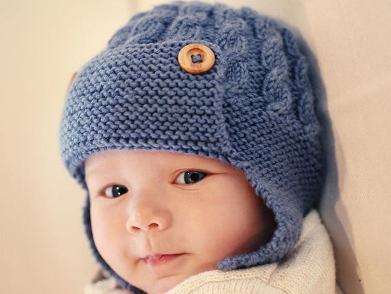 Pdf Knitting Pattern Baby Aviator Hat Pattern Earflap Hat Pattern
