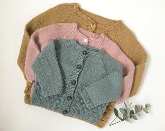 Knitting Pattern - Bubble Stitch Baby Cardigan, PDF Pattern
