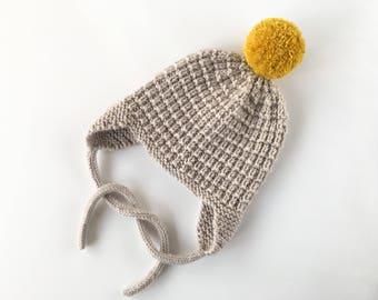 Baby Hat Knitting Pattern with Pompom CULLEN