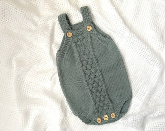 Knitting Pattern Bubble Stitch Baby Romper PDF pattern