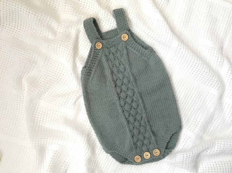 Knitting Pattern Bubble Stitch Baby Romper PDF pattern image 0