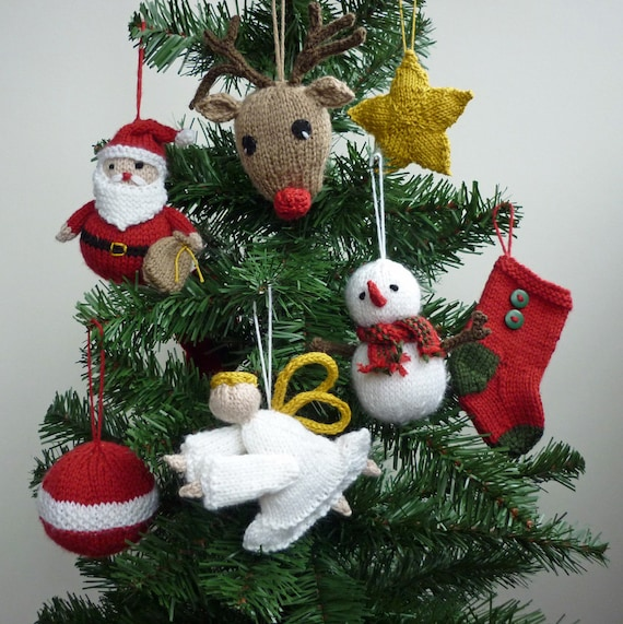 Christmas Knitting Pattern Christmas Ornaments Pattern Santa Etsy