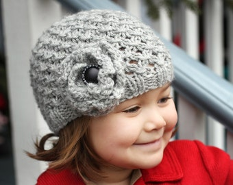 PDF Knitting Pattern, Girls Hat Pattern, Hat Pattern for Girl, Hat with Flower, Hat Knitting Pattern, Child to Adult sizes - MIA